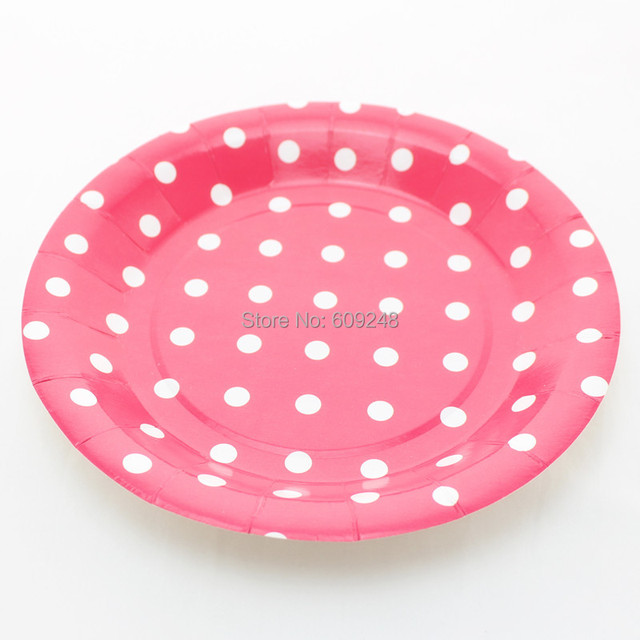 24pcs 9\  Decorative Birthday Wedding Holiday White Polka Dot Deep Pink Paper Plates Round Party  sc 1 st  AliExpress.com & 24pcs 9\