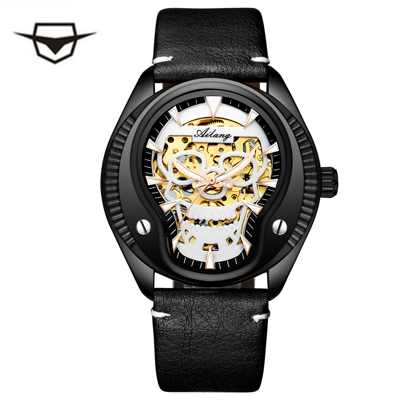 Men Watch Cool Creative Watch Brand Luxury Black Steel Male Clock Skull Style Automatic mechanical watch relogio masculino