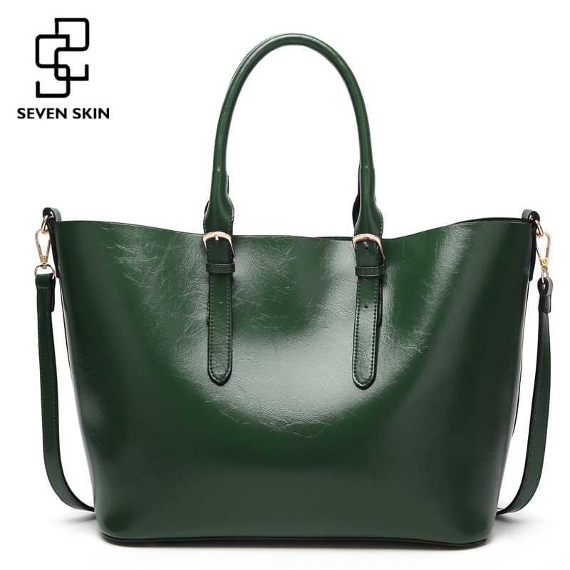 SEVEN SKIN Brand 2017 New Women Handbags Solid PU Leather Bags Women's Shoulder Bag Female Large Casual Tote Bag bolsos mujer seven skin brand women shoulder bag female large tote bag ladies pu leather top handle bags luxury handbags women bags designer