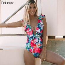2019 Sexy Ruffle One Piece Swimsuit Women Swimwear Push Up Monokini Bodysuit Print Swim Suit Backless Bathing Suit Beach Wear