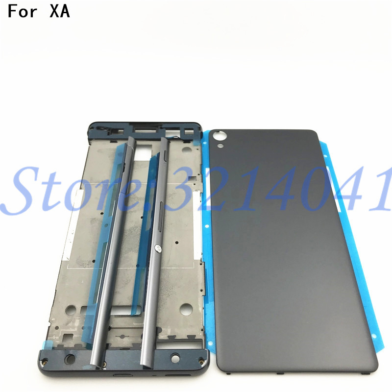 Full Housing Middle Front Frame Bezel Housing For Sony Xperia XA F3111 F3112 F3115+ Side Rail Stripe with Side Buttons+Logo-in Mobile Phone Housings & Frames from Cellphones & Telecommunications