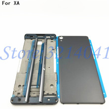 Полный корпус, средняя передняя рамка, корпус для Sony Xperia XA F3111 F3112 F3115 + Боковая рельсовая полоса с боковыми кнопками + логотип