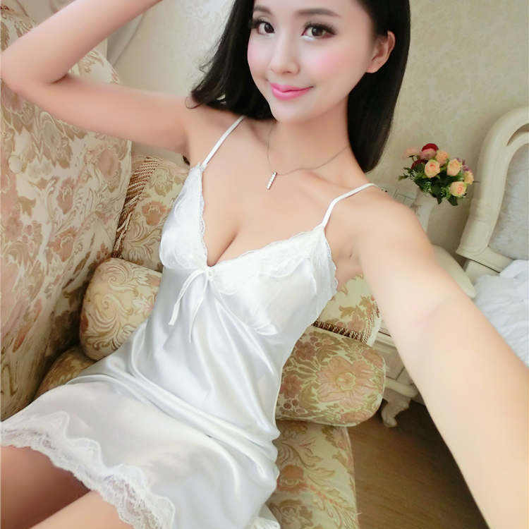 fc68b7466d ... Pure White Red Black Lace Halter Silk Satin Nightgown Women Sexy  Lingerie Slip Night Sleep Dress ...