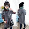Дети длинный день девушки вязание мода куртка дети этикетки кнопки пальто свитер девушки осень одежда