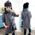 Children long day girls knitting fashion jacket children a label button coat sweater girl autumn clothes