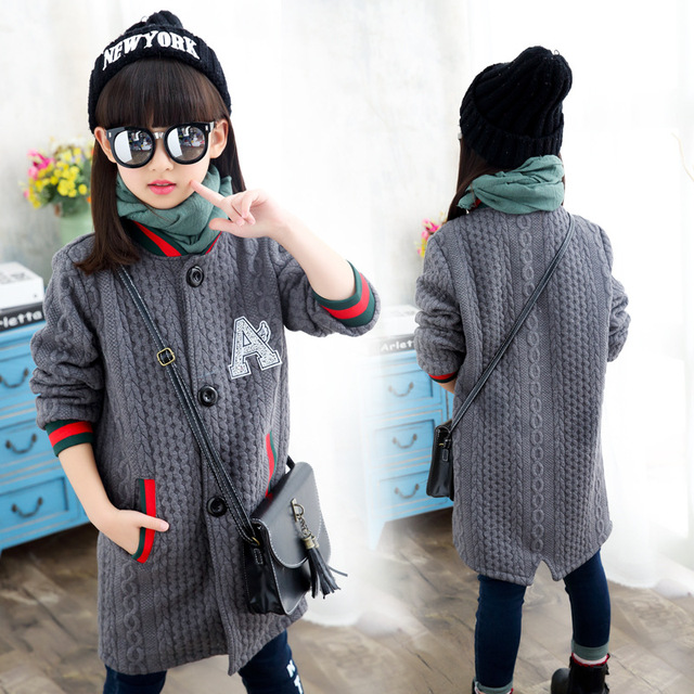 Children long day girls knitting fashion jacket children a label button coat sweater girl autumn clothes
