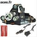 Boruit 3x XML T6 из светодиодов 6000 Lumens фар головного света лампы фонарик фары фонарь + 2 * 18650 + + автомобильное зарядное устройство