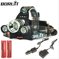 Boruit 3x XML T6 LED 6000 Lumens Headlight Light Head lamp Flashlight  Headlamp Lantern +2*18650 Battery+Charger+Car charger