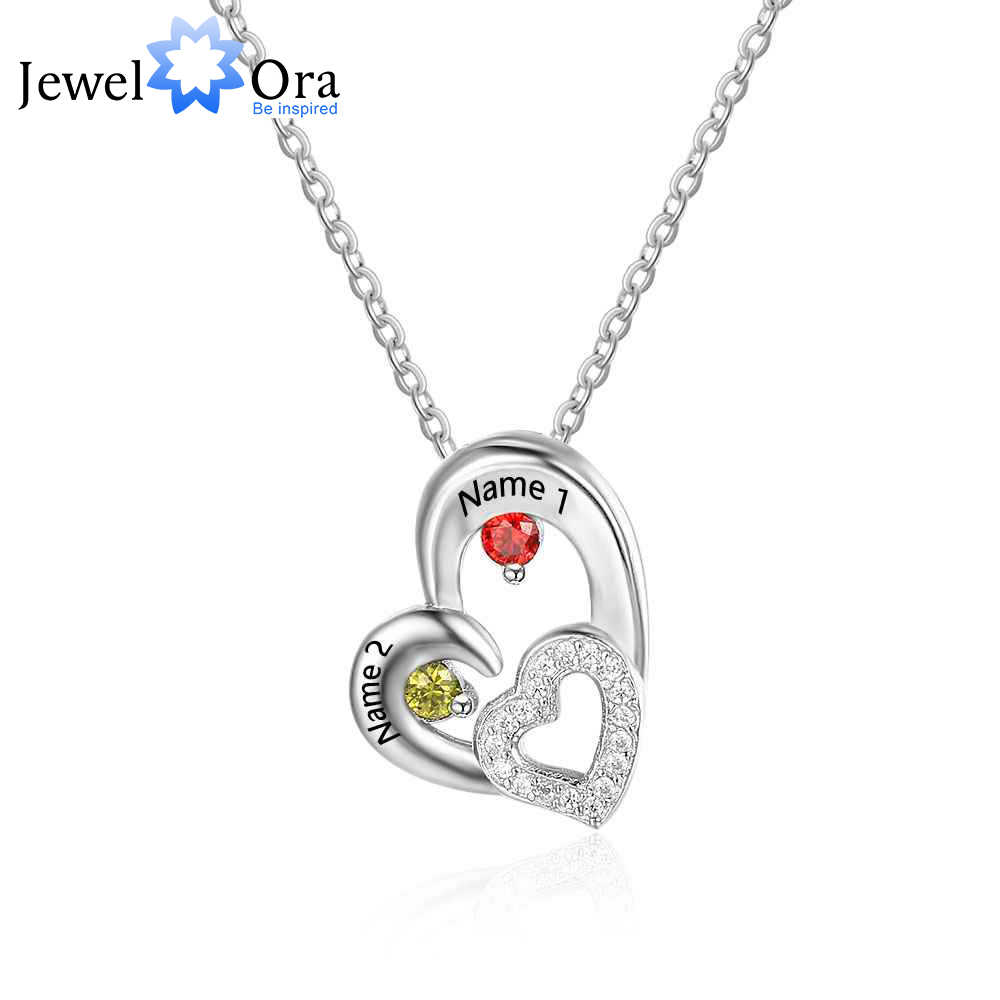 9f29be2c3b Personalized 925 Sterling Silver 2 Birthstone Necklace Pendants Engraved  Heart BirthStones Necklace Mom Gift JewelOra NE101876