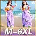 2016 New Women Summer Boho Beach Dress Femme Sexy Cute Bohemian Print Maxi Long Clothing Plus Size 5XL 6XL Vestidos 3004