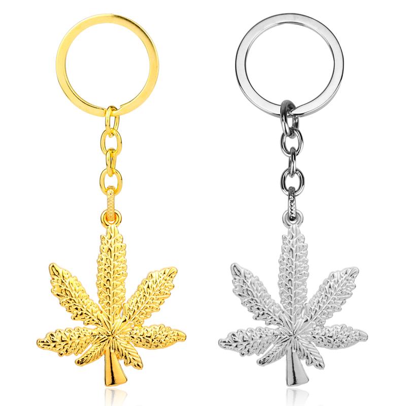 New Trendy Maple Leaf Pendant Keychain Hip Hop Weed Pendant Key Ring Women Hot