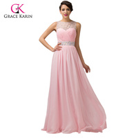 Grace Karin Backless Chiffon Pink Lilac Long Evening Dresses 2018 Women Formal Evening Gowns Elegant Party Dress Robe De Soiree