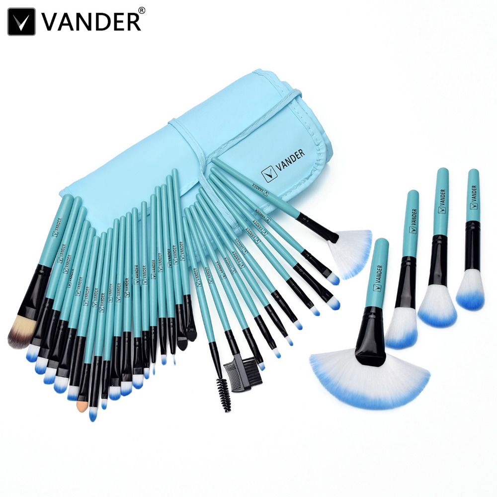 цены VANDER Pro 32Pcs Makeup Set Powder Foundation Eyeshadow Eyeliner Cosmetic Brushes Kit Blending Pencil Kabuki Bag(Classical Blue)