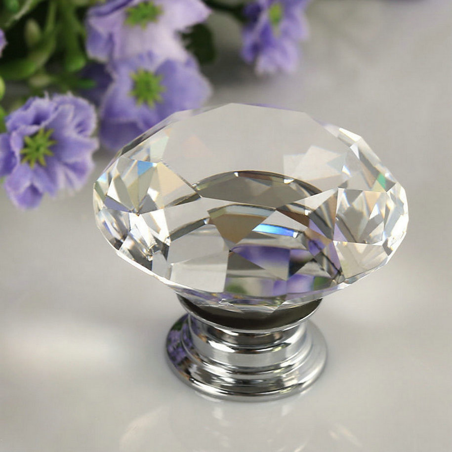30mm Diamond Clear Crystal Glass Door Pull Drawer Cabinet Furniture Accessory Handle Knob Screw Hot Worldwide