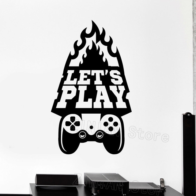Gaming Wall Art Decals Boys Bedroom Decor Lets Play Quote Video