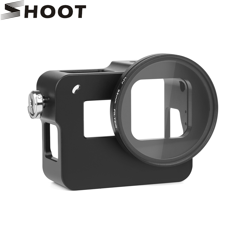 SHOOT CNC Aluminum Alloy Skeleton Rugged Cage Protective Frame Case for GoPro Hero 5 Black with 52mm UV Lens Camera Accessory highpro precision cnc aluminum alloy 52mm lens converter ring for gopro hero3 housing black