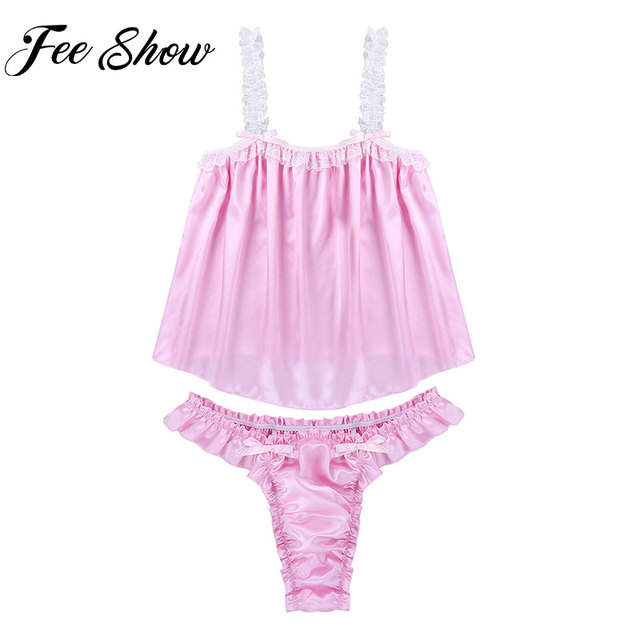Sexy Mens Sissy Lingerie Satin Nightwear Set Gay Pink Ruffled Frilly Lace  Bikini Briefs Tanga Hombre Thong Underwear Sleepwear