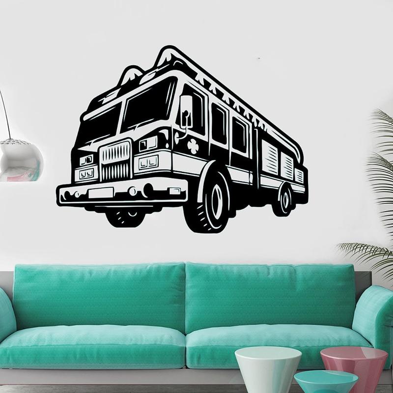 YOYOYU Fire Car Decal Art Vinyl Wall Sticker Engine Fireman Firefighter Remove Bedroom Livingroom Decoration Poster ZX514