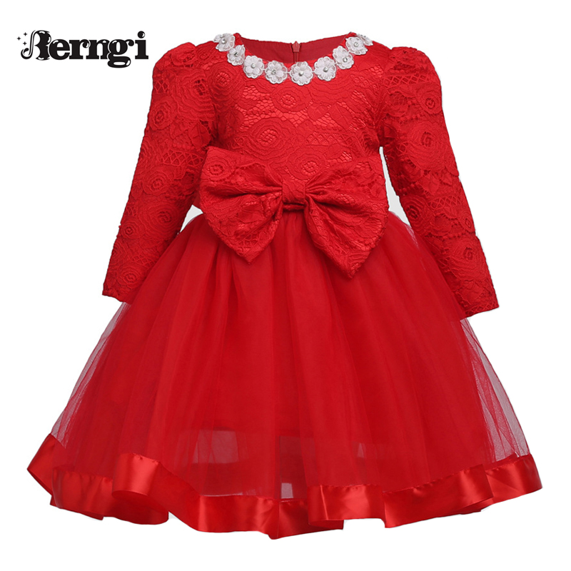 2018 Kids Red Dress Girls Princess Party Costumes for Christmas Girls Lace Autumn Dress Baby Long Sleeve Bow Dress girls europe and the united states children s wear red princess long sleeve princess dress child kids clothing red bow lace