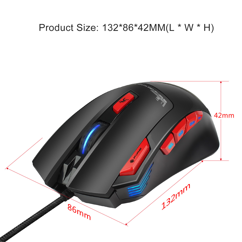 Hongsund Programmable Gaming Mouse 9 key illuminable mouse up to 6000 dpi RGB Backlit USB Wired Optical Gamer 3