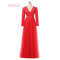 Rojo 2018 Celebrity Dresses A-line V-cuello de Manga Larga de Tul Con Cuentas Cristales Mujeres Vestidos de Noche Largos Vestidos de la Alfombra Roja