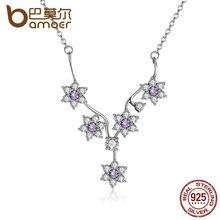 Bamoer 925 flores de plata esterlina cz púrpura collar de cadena para las mujeres de la boda joyería fina psn012