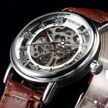 Sewor marca de luxo relógios homens mecânicos esqueleto dial roman relógio de pulso casual relogio homens relógio vento mão mecânica