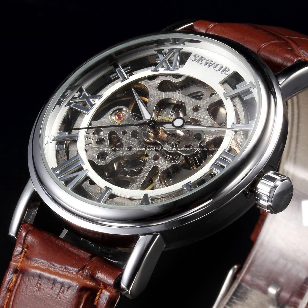 Prix pour SEWOR Marque De Luxe Mécanique Montres Hommes Squelette Cadran Horloge Romain Montres Casual Relogio Hommes Mécanique Main Vent Montre