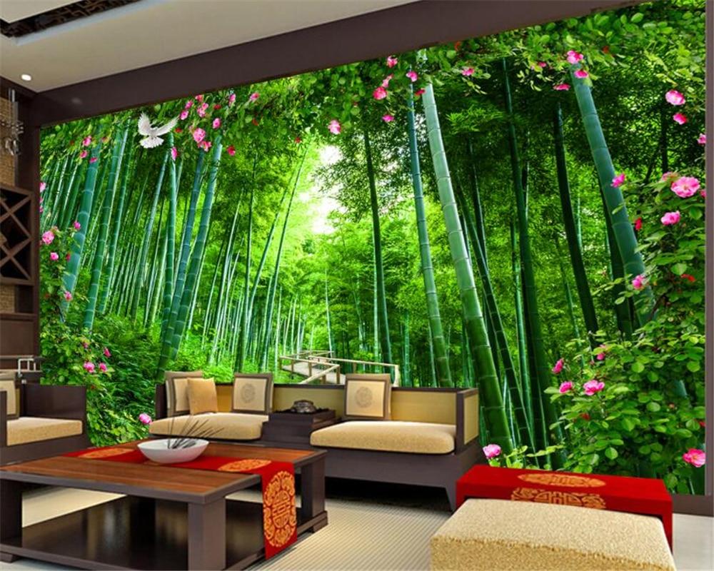 Beibehang papier peint personnalisé bambou pont en bois Rose jardin ...