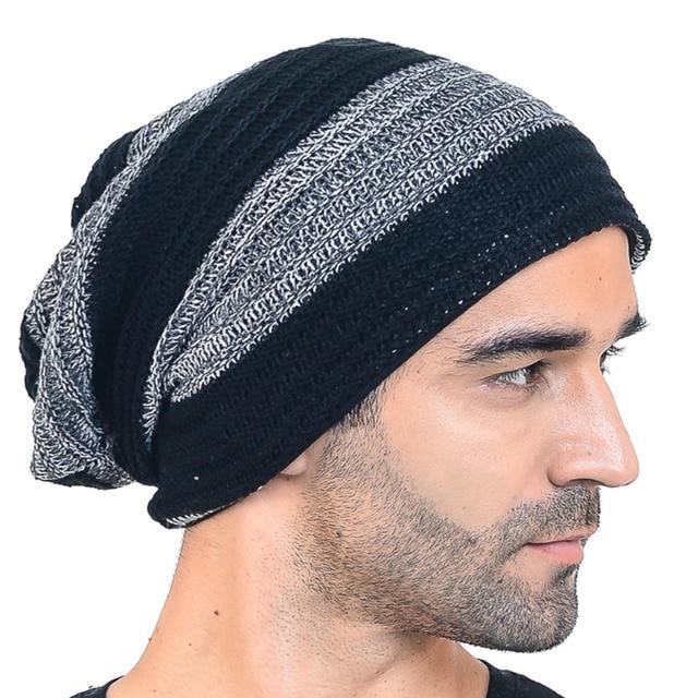 7205bc6da35b1 HISSHE Mens Classic Slouchy Knitted Beanie Cap Winter Baggy Two-tone  Striped Beanie Hats Good Quality Acrylic Warm Ski Hat