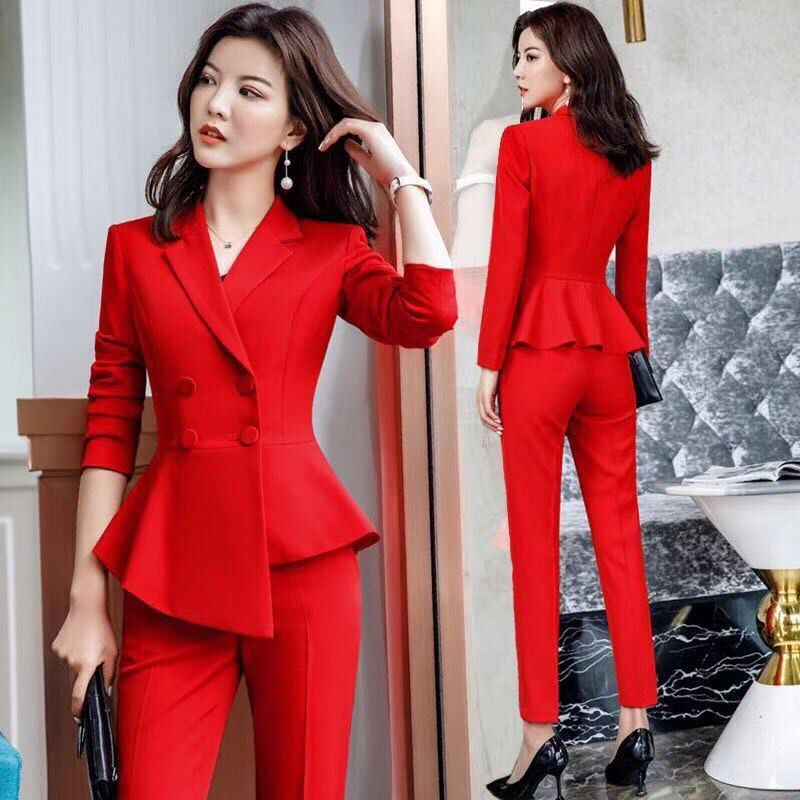 2019 New Red Blazer Two Piece Suits Women Set Casual Double Breasted Slim Long Sleeve Host Formal Work Blazer Suits Femme Kimono