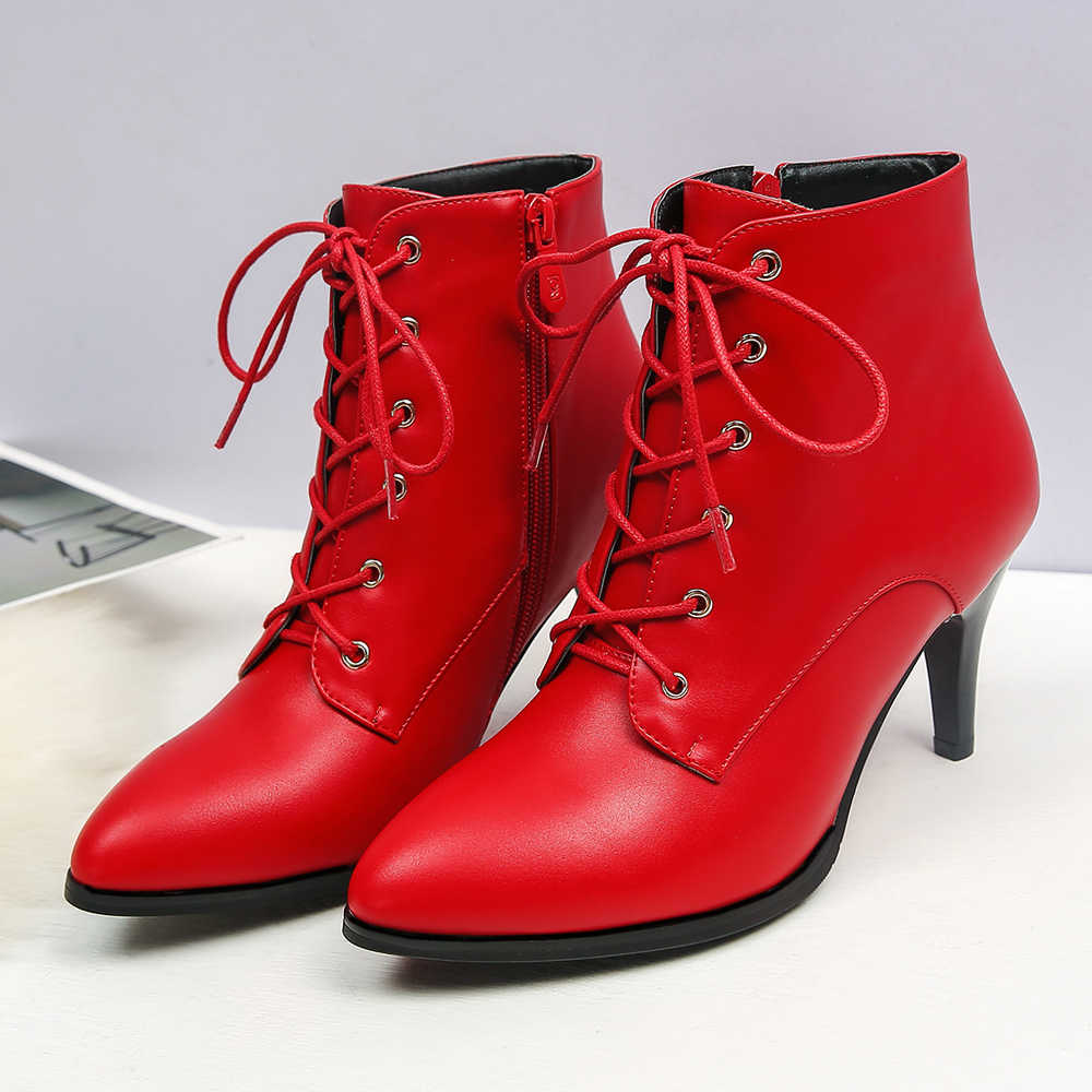 ANNYMOLI kadın botları kış yarım çizmeler fermuar yüksek topuk kısa çizmeler Lace Up sivri burun kare topuk ayakkabı bayan kırmızı büyük boy 43