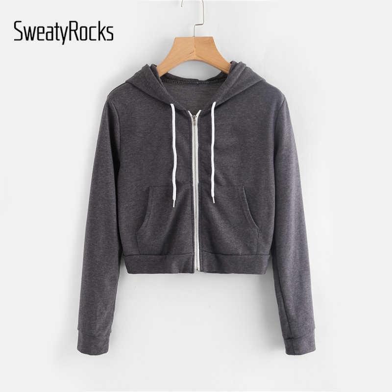 b67301dee SweatyRocks Pocket Front Heather Knit Crop Hoodie Grey Women Long Sleeve  Zip Up Sporting Sweatshirt Ladies