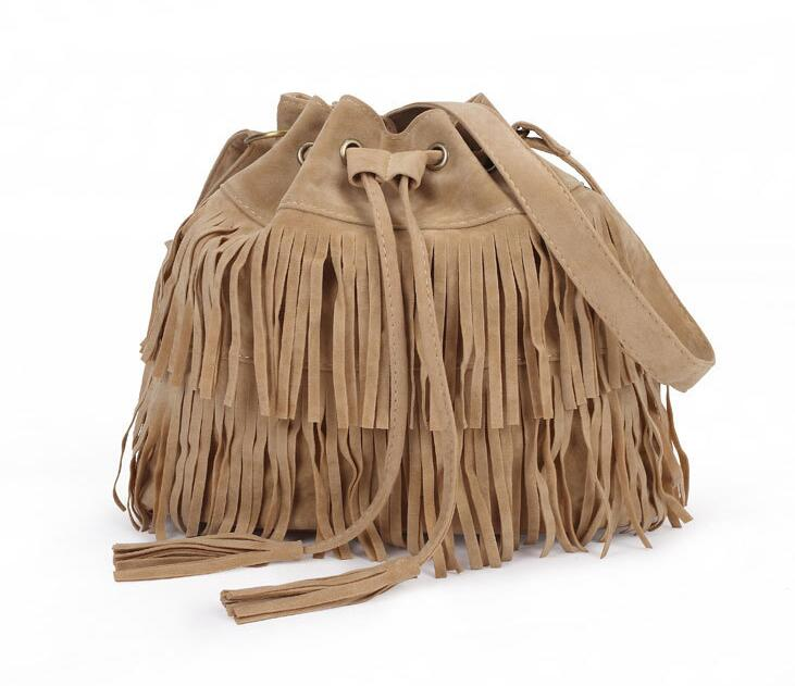 Bag 2016 European Simple Retro Fringed Tassel Bag Drawstring Bucket Shoulder Messenger Bag Handbag