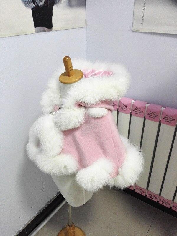 Livraison gratuite printemps automne hiver enfant age1/2 vraie fourrure de renard garniture en cachemire étole pour la fête - 2