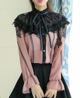 Free Shipping Retro Korean Stand Collar Bowknot Lace Color Block Flare Sleeve Long Sleeve Woman Chiffon