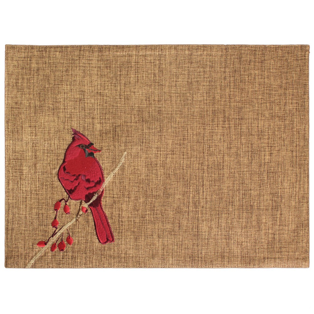 Free Shipping Cardinal Birds Embroidery Table Mat Holiday Dining Mat on