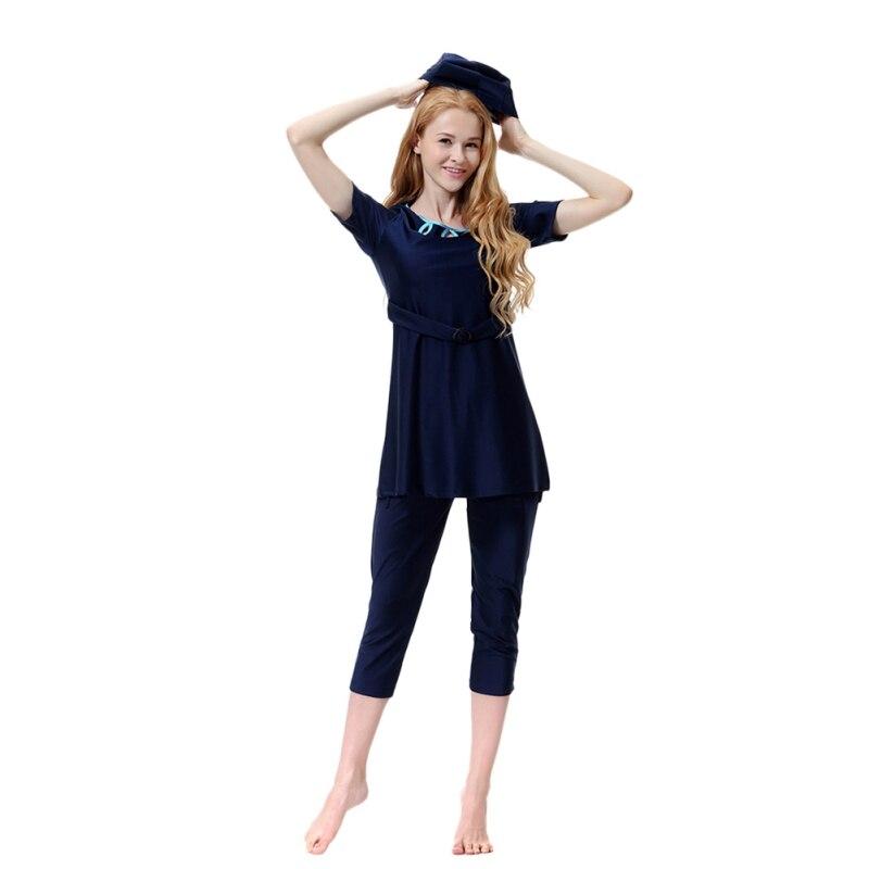 Short Sleeve Sunscreen Arabian Swimsuit Islamic High Quality Women Swimwear Muslim Swimsuit With Swim Hat New Arrival