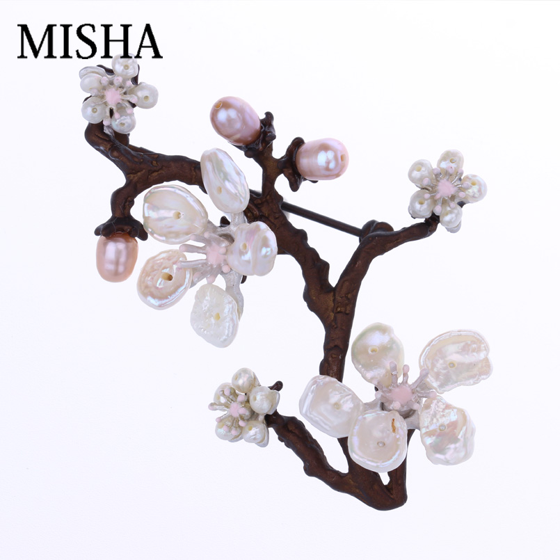 MISHA Pink Plum Blossom High Quality Flower Brooch Pin For Women Wedding Gift Bridal Jewelry With Freshwater Pearl Brooch 2150MISHA Pink Plum Blossom High Quality Flower Brooch Pin For Women Wedding Gift Bridal Jewelry With Freshwater Pearl Brooch 2150