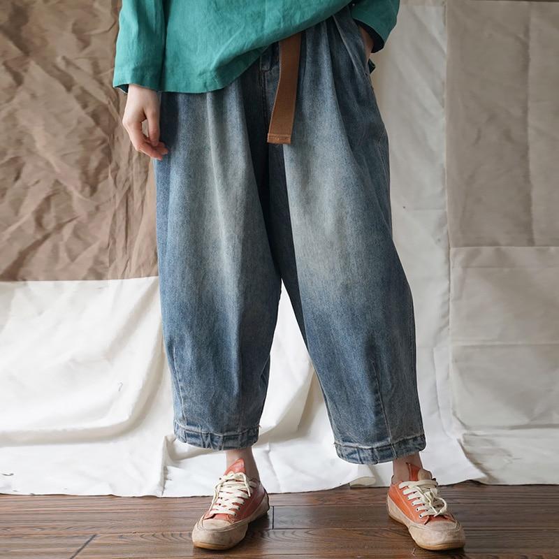 Johnature Denim Dei Pantaloni Delle Donne Blu Più Il Formato Dei Pantaloni 2019 New Spring Vintage Abbigliamento Donna Tasche Casual Dei Jeans Larghi Pantaloni Gamba-in Jeans da Abbigliamento da donna su  Gruppo 1