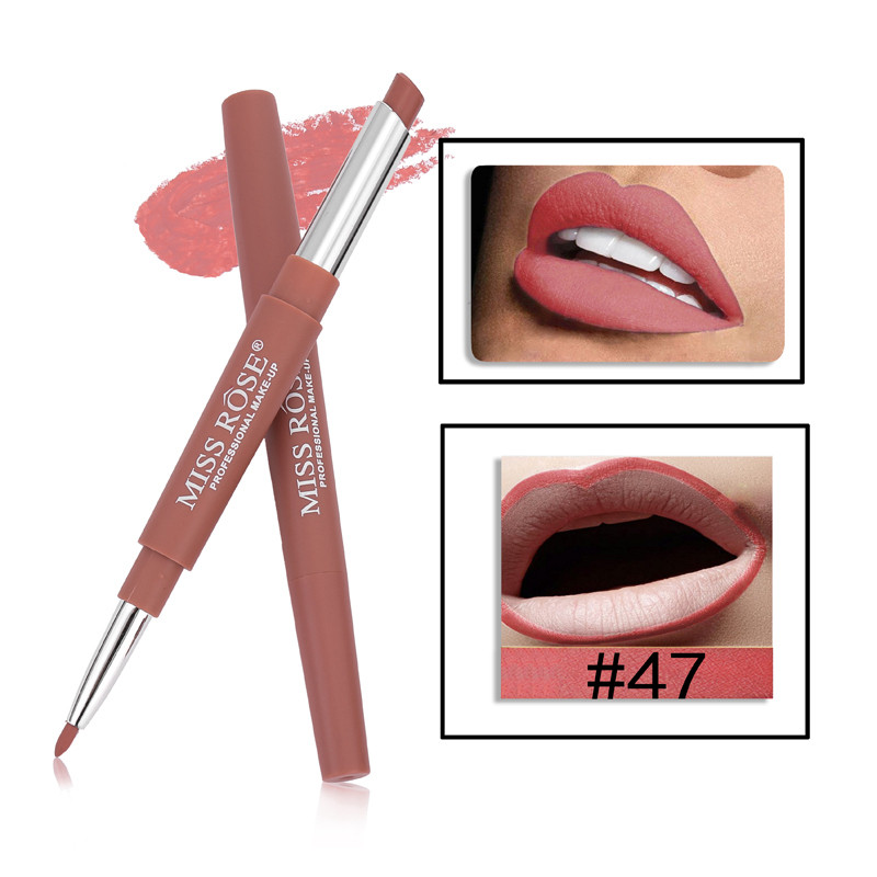 47 8 Color Double-end Lip Makeup Lipstick Pencil Waterproof Long Lasting Tint Sexy Red Lip Stick Beauty Matte Liner Pen Lipstick