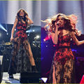 Sexy brilhantes Selena Gomez vestido de baile ver através celebridade inspirado vestido vestido de festa longo