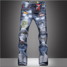 Мода повседневная высокое качество хип-хоп отверстие известные мужчины джинсы европа стиль весной и летом мужчины брюки Бесплатная Доставка MF753981
