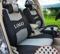 Asiento delantero 2 cubierta Para PEUGEOT 206 207 307 308 3008 negro rojo gris ventilar empresa insignia Del Bordado Asiento de Coche cubierta