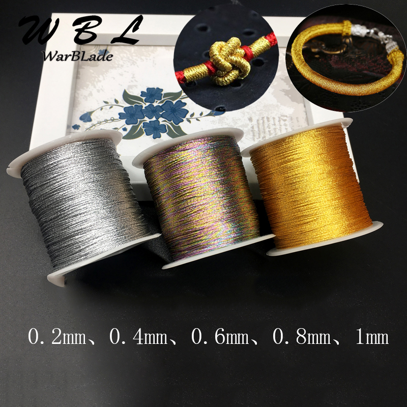 Silver Gold Cord 0.2/0.4/0.6/0.8/1mm Nylon Cord Chinese Knot Thread String Rope Bead For DIY Braided Tassel Ring Bracelet Making
