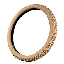 Universal 38cm Car Steering Wheel Cover Leather with Ice Silk Breathable Anti-slip Beige Color
