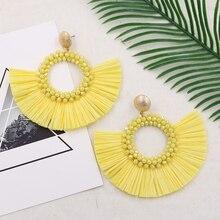 Raffia Tassel Earrings for Women Handmade Crystal Beaded Earring Korean Style Bohemian Wedding Party Jewelry 2019