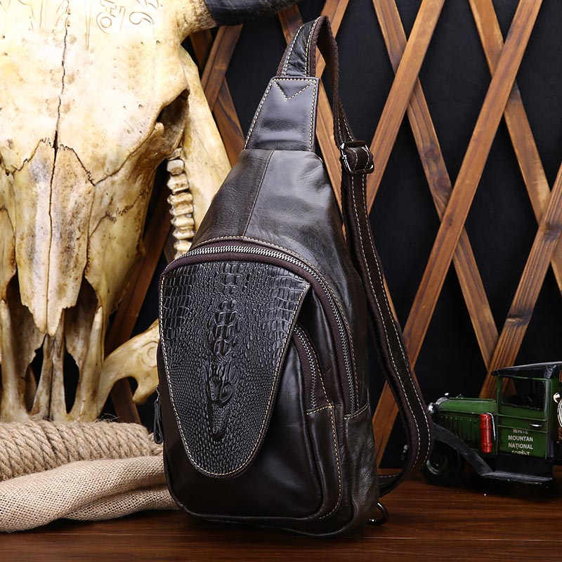 2017 Cow Genuine Leather Men Sling Bag Single Shoulder Bag Men Alligator Chest Crossbody Bag Waist Pack for Boy Travel Chest Bag