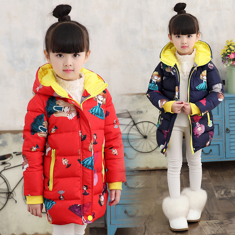 Girls winter style thick padded jacket 2017 new fashion cartoon hooded coat large children warm cotton 4 5 6 7 8 9 10 years old children thick winter jacket fashion jacket winter paragraph girls hairs ball cartoon embroidered cotton outerwear coat