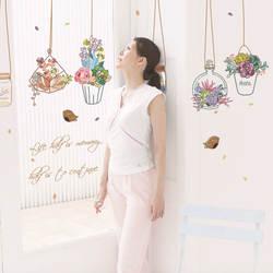 Бонсай горшках бабочка цветок растения стены стикеры Гостиная Кухня для окна домашний декор декорации Декор для дома наклейка